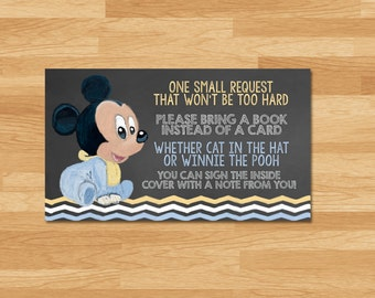 Baby Mickey Mouse Baby Shower Book Insert   Chalkboard   Mickey Mouse Bring  A Book Instead Of A Card Insert   Mickey Mouse Baby Shower Theme