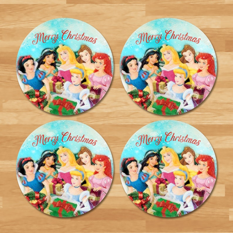 Disney Princess Holiday Gift Tag - 4 inches - Disney Princess Christmas Tags - Teacher Thank You Tags - Watercolor Princess Tag - 101034