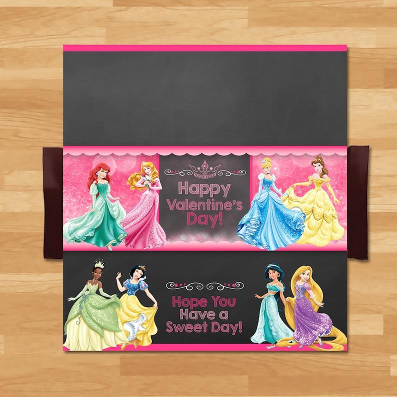 Disney Princess Valentine's Day Candy Bar Wrapper - Disney Princess Candy Wrapper - Princess Party Chocolate Bar - School Valentine 100493