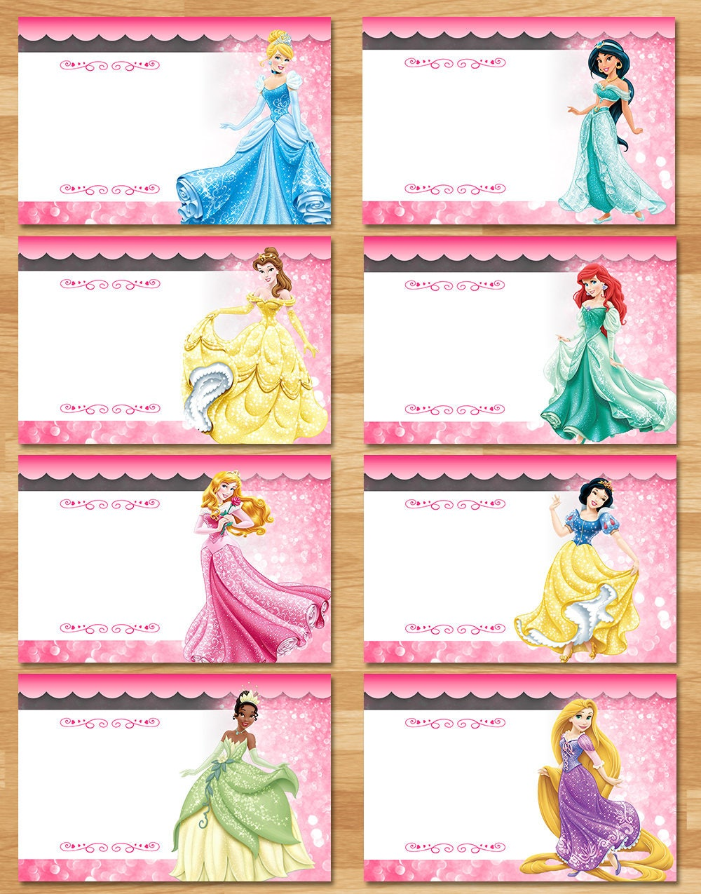 Disney Princess Food Tents Chalkboard Princess Birthday | Etsy