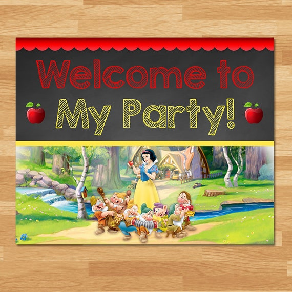 Snow White Welcome to My Party Sign - Chalkboard - Snow White and 7 Dwarfs Sign - Princess Printables - Snow White Birthday Party 100443