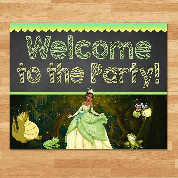 Princess and the Frog Welcome Party Sign - Chalkboard - Frog Princess Party Sign - Princess Tiana Party - Princess Party Printable 100444