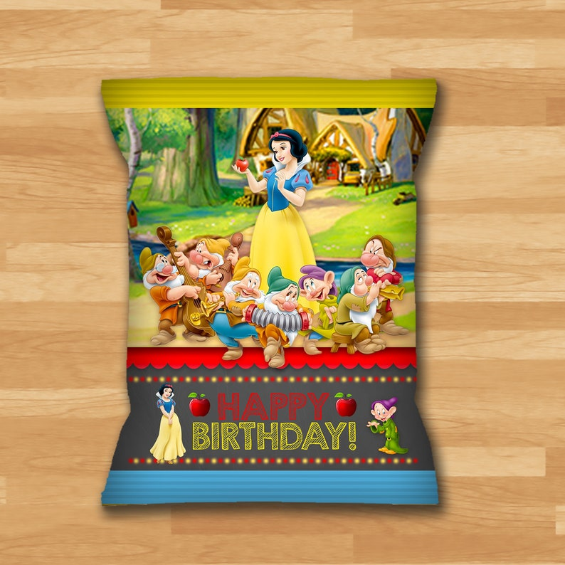 Snow White Chip Bag Labels - Snow White and 7 Dwarfs Snack Pouch Label - Princess Printables - Snow White Birthday Party Favors - 100443