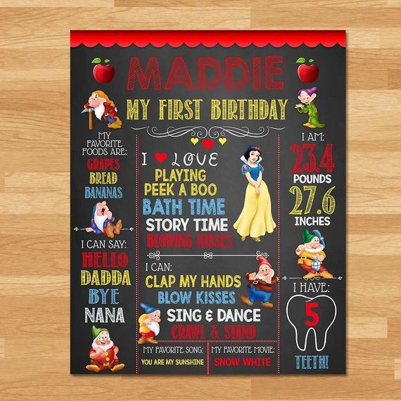 Snow White Birthday Poster - Chalkboard - Snow White 1st Birthday Poster - Disney Princess Printables - Snow White Birthday Party 100443