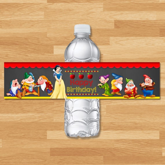 Snow White Drink Label - Chalkboard - Snow White and 7 Dwarfs Water Bottle Label - Princess Printables - Snow White Birthday Party Favors