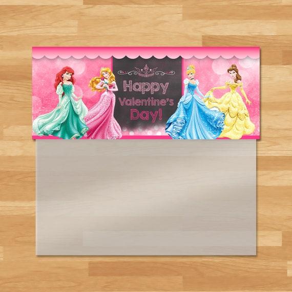 Disney Princess Valentine's Day Candy Bag Topper - Disney Princess Ziptop Favor Bag - Princess Party Favor Topper - School Valentine 100493