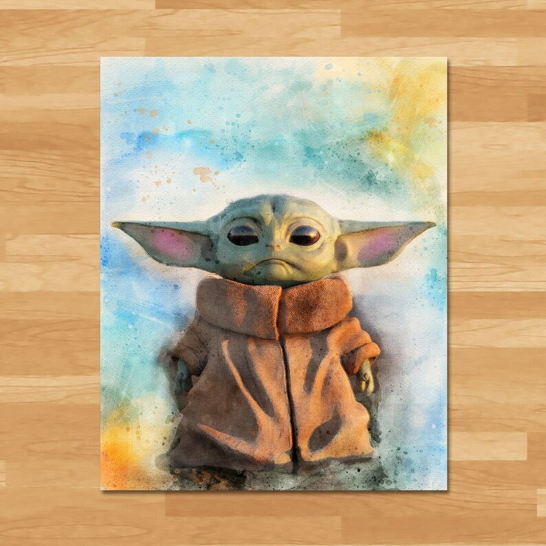 Star Wars Baby Yoda Watercolor Painting - Instant Download - Star Wars Home Decor - Baby Yoda Star Wars Birthday Party Printables - 101035