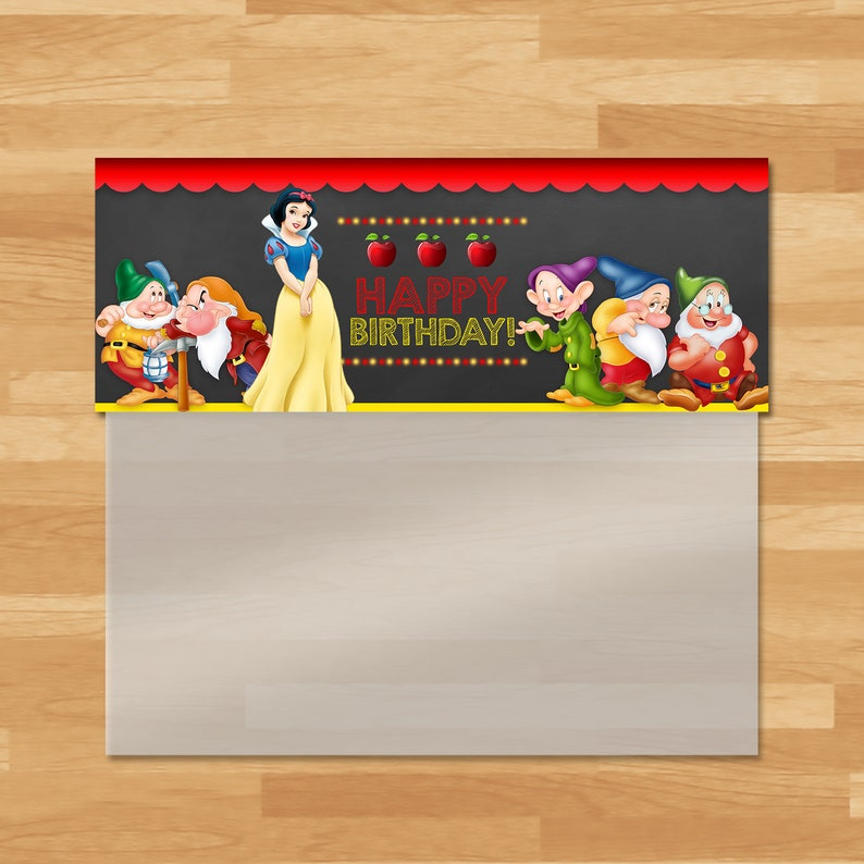 Snow White Candy Bag Topper - Snow White and 7 Dwarfs Ziptop Favor Bag - Princess Printables - Snow White Birthday Party Favors - 100443