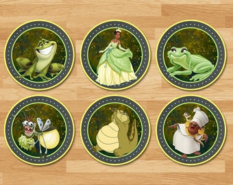 Princess and the Frog Cupcake Toppers - Chalkboard - Frog Princess Stickers - Princess Tiana Topper - Princess and Frog Party Printables