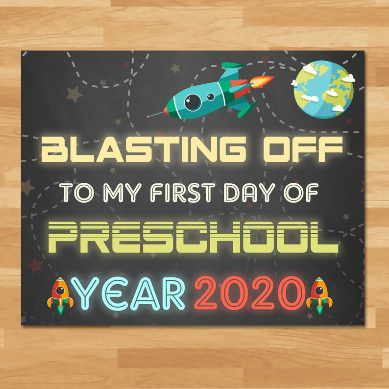 First Day Of Preschool Sign Boys - Space Chalkboard - 2020 - First Day of School Sign - 1st Day School Photo Prop - Back to School 100861