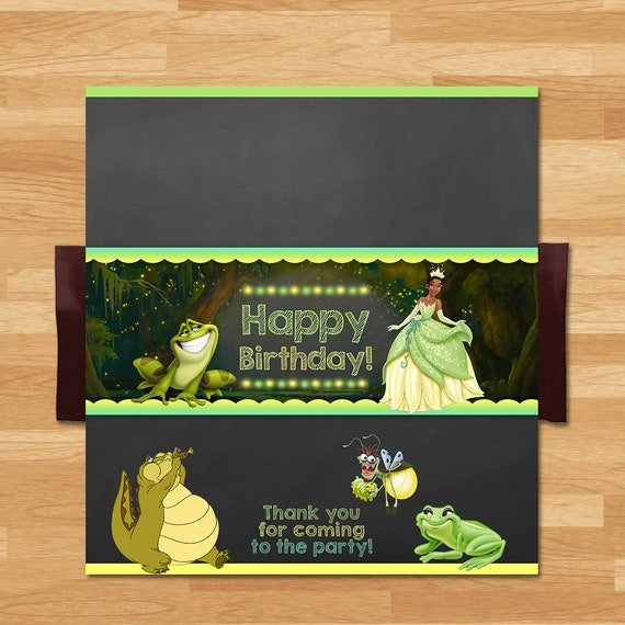 Princess and the Frog Candy Wrapper - Chalkboard - Frog Princess Chocolate Bar Wrap - Princess Tiana Party - Princess Party Printable 100444