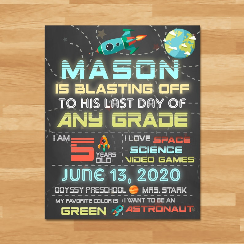 Last Day Of School Sign Chalkboard Sign Boys - Space - Class of 2019 - Last Day of School Sign - School Custom Graduation Sign - 100953