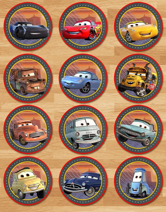 Disney Cars 3 Cupcake Toppers Chalkboard Cars 3 Stickers Etsy
