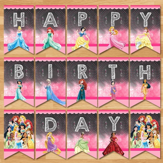 Disney Princess Happy Birthday Banner Chalkboard Disney Princess Banner Princess Party Bunting Princess Party Printables 100478