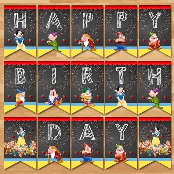"""36/""""x48/"""" Snow White Personalized Party Banner Snow White 1st Birthday Banner"""