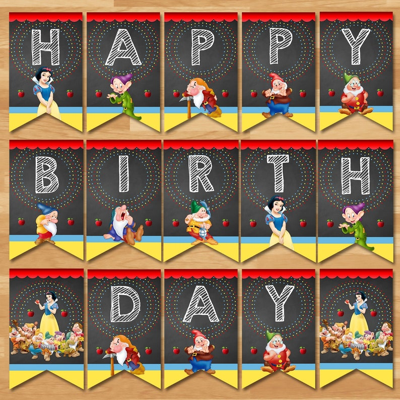 Snow White Happy Birthday Banner - Snow White and 7 Dwarfs Bunting - Princess Printables - Snow White Birthday Party Favors - 100443