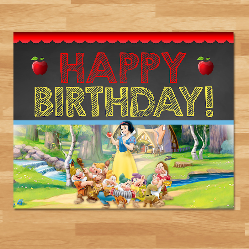 Snow White Happy Birthday Sign - Chalkboard - Snow White and 7 Dwarfs Sign - Princess Printables - Snow White Birthday Party 100443