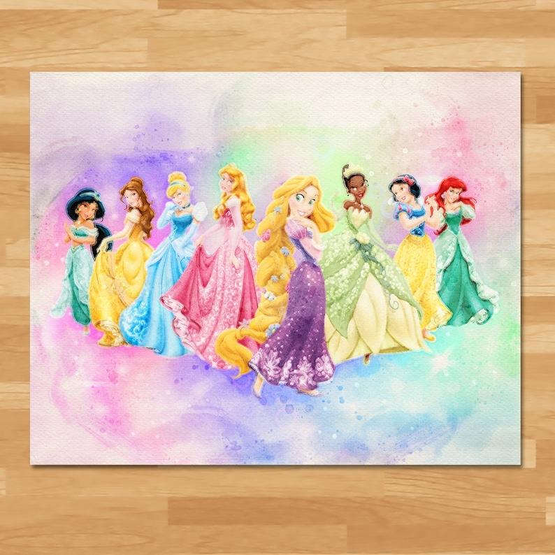 Disney Princess Watercolor Painting - Printable Instant Download - Princess Home Decor - Princess Birthday Party Printables - 100974