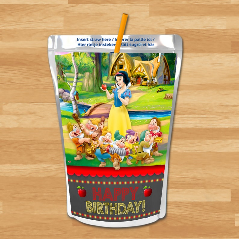 Snow White Capri Sun Labels - Chalkboard - Snow White and 7 Dwarfs Drink Label - Princess Printables - Snow White Birthday Party Favors
