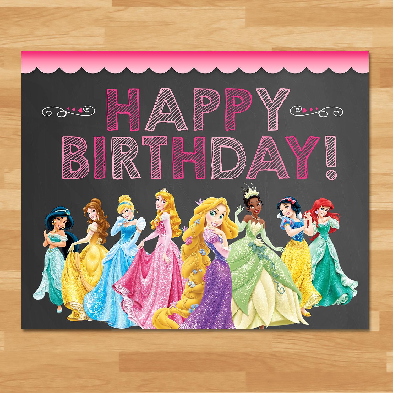Disney Princess Happy Birthday Sign Chalkboard Princess