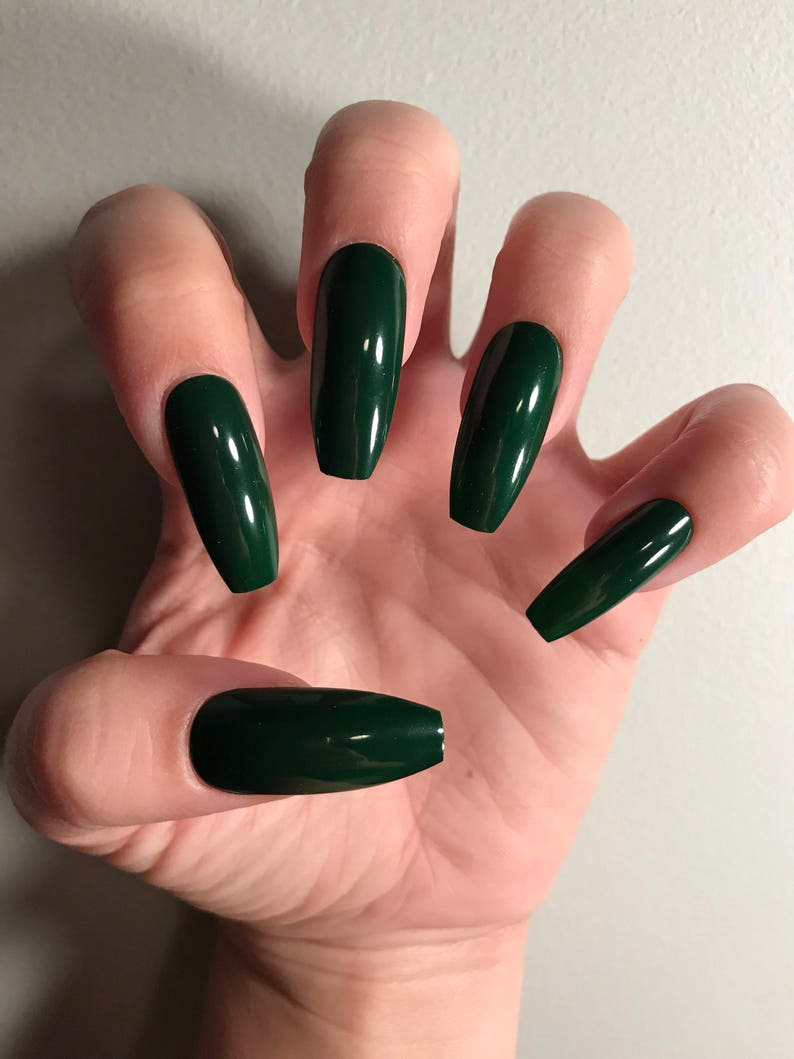 Deep Green Nails Press On Nails Fake Nails False Nails Etsy