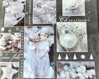 Paper napkin white Christmas pattern