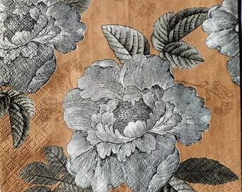 Serviette en papier Fleurs Romantiques vintage