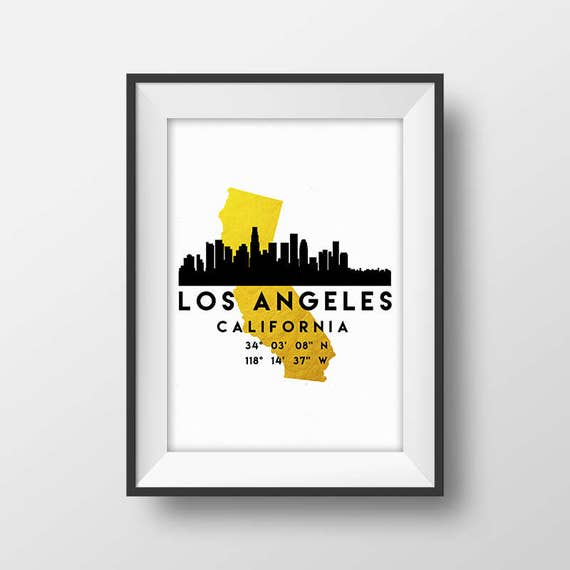 Los Angeles Skyline California State Map Los Angeles Gold Etsy