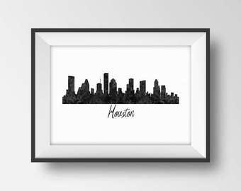Houston Skyline Print, Houston Silhoette Poster, Texas Cityscape, Houston City Skyline, Houston Art Printable, Black White Home Wall Decor