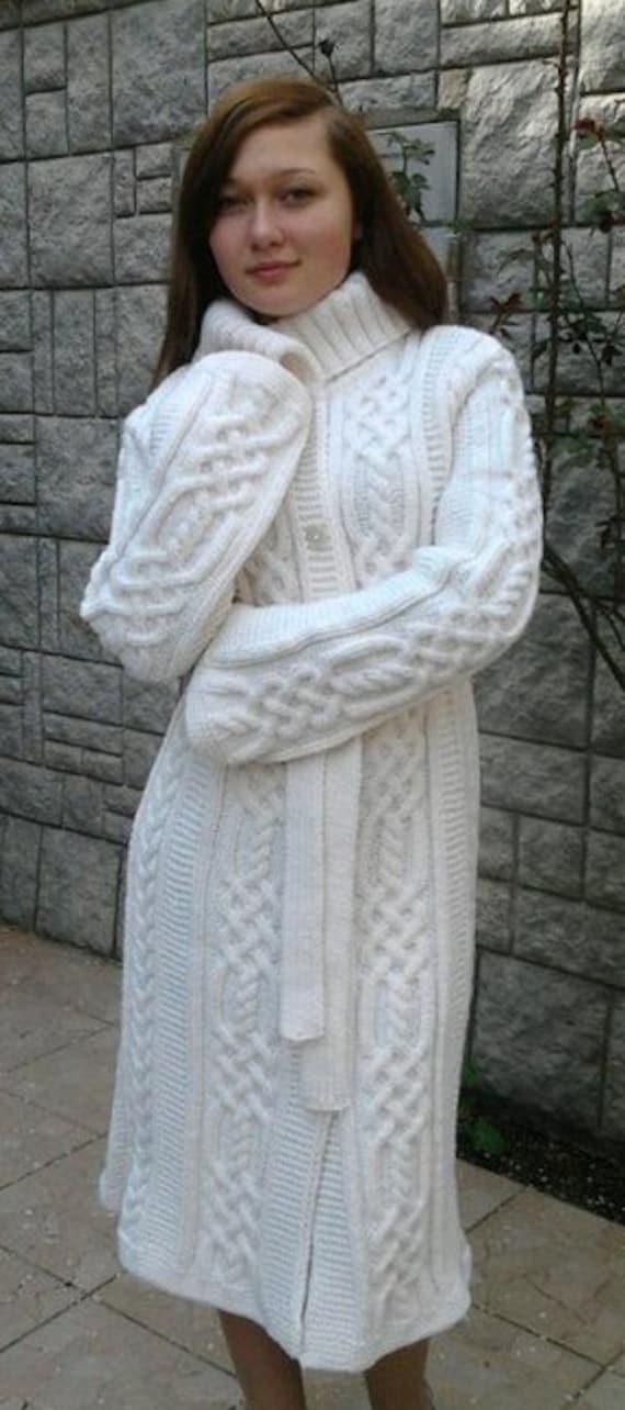 Hand knitted cardigan Jacket women Hand Knit women/'s coat aran Women/'s coat Women cardigan Sweater Handmade wool Women/'s jacket