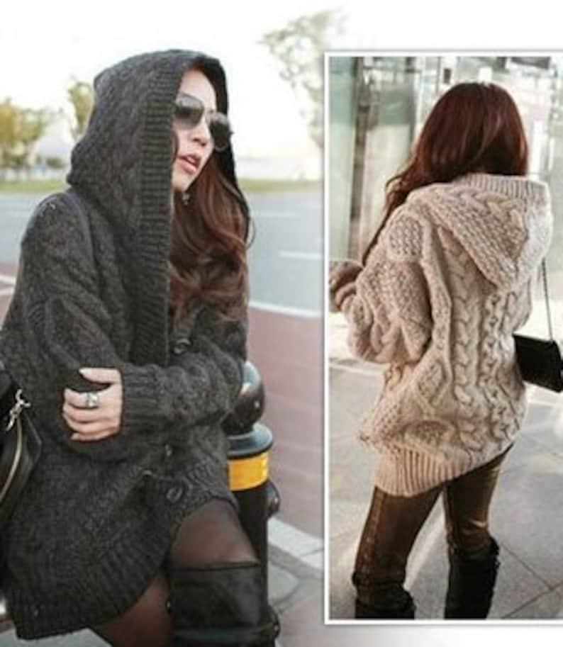Hand Knit women/'s coat aran Sweater with hood Women cardigan Women cardigan with hood Sweaters Elegant cardigan Women/'s jacket