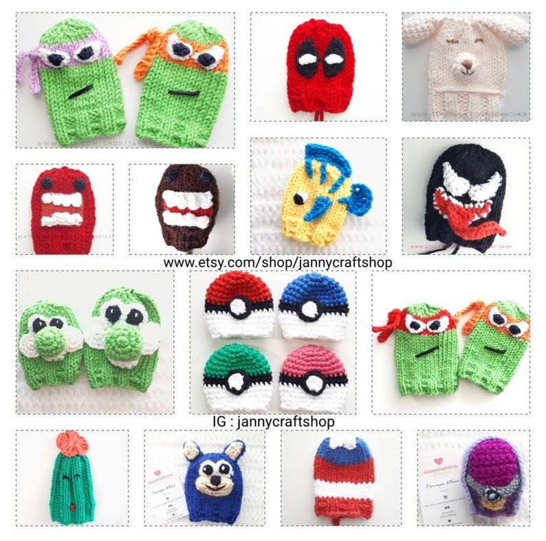 Custom shift knob cover beanie knitted  character image 0