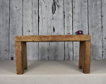 Antique Wooden Stool / Rustic Wooden Bench / Old Wooden Stool / Vintage  Bench Farmhouse / Rustic Wooden Seat / Rustic Decor / Home Decor