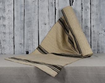 Vintage homespun fabric  Traditional Ukrainian fabric from hemp  Antique homespun linen  Organic handwoven linen  Ethnic rustic fabric