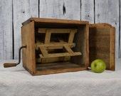 Antique wooden bowl Primitive butter churn Vintage wooden vessel Farmhouse tool Old wooden barrel Rustic home decor