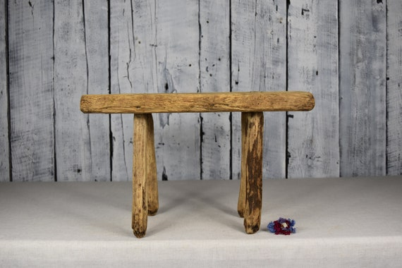 Super Antique Wooden Stool Rustic Wooden Bench Small Wooden Stool Vintage Bench Farmhouse Rustic Wooden Seat Rustic Decor Home Decor Short Links Chair Design For Home Short Linksinfo