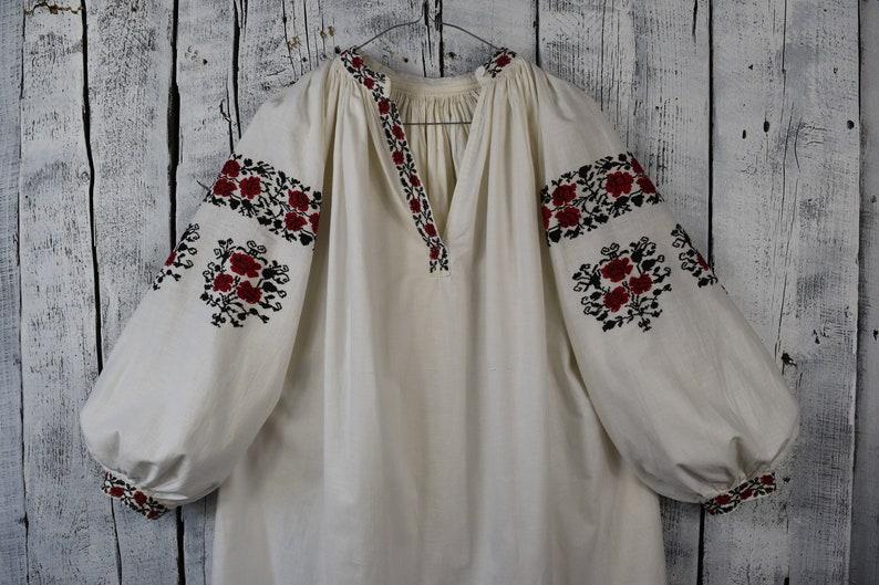 Vintage traditional Ukrainian embroidered shirt  Vyshyvanka  Handmade embroidered shirt  Embroidered vintage folk women/'s shirt