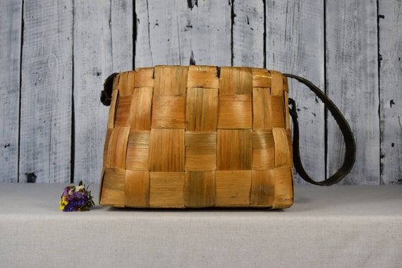 Vintage wicker bag / Handbag of wooden leather / W