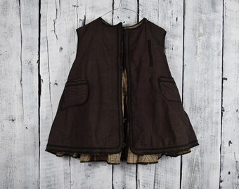 Antique Ukrainian vest / Traditional Ukrainian costume / Vintage blouse vest / Ukrainian folk vest jacket / Old era outer garment
