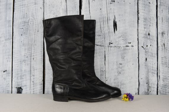 Antique black leather boots / VIntage mens tall bo
