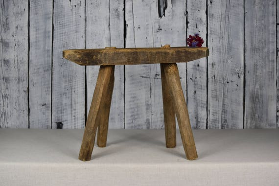 Antique Wooden Stool Rustic Wooden Bench Small Wooden