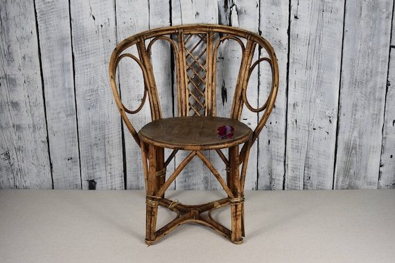 image 0 ... - Vintage Wicker Armchair / Wicker Rattan Chair / Antique Baby Etsy