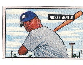 MICKEY MANTLE - Bowman Replica 1951 Card