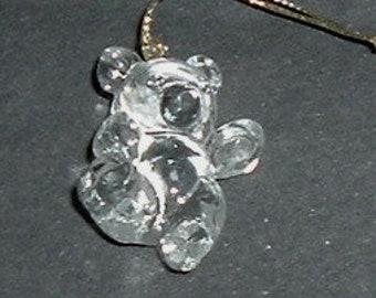 CLEAR TEDDY BEAR Christmas Ornament