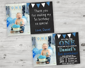 It's The Big One Invitation, First Birthday Invitation, 1st Birthday Boy Invite with Free Thank You Card, PERSONALIZED DIGITAL FILE
