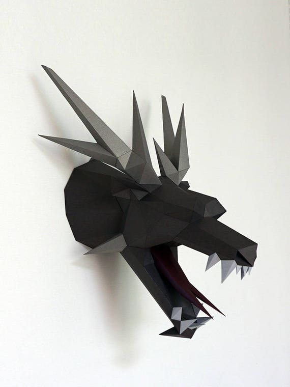Be The Dragon Head Paper Craft Paper Trophy Low Poly Etsy