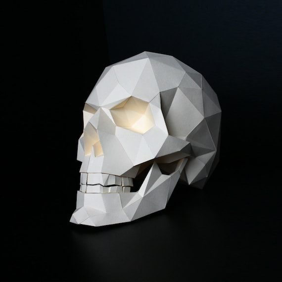 Skull Paper Craft Paper Objet Realistic Low Poly 3d Etsy