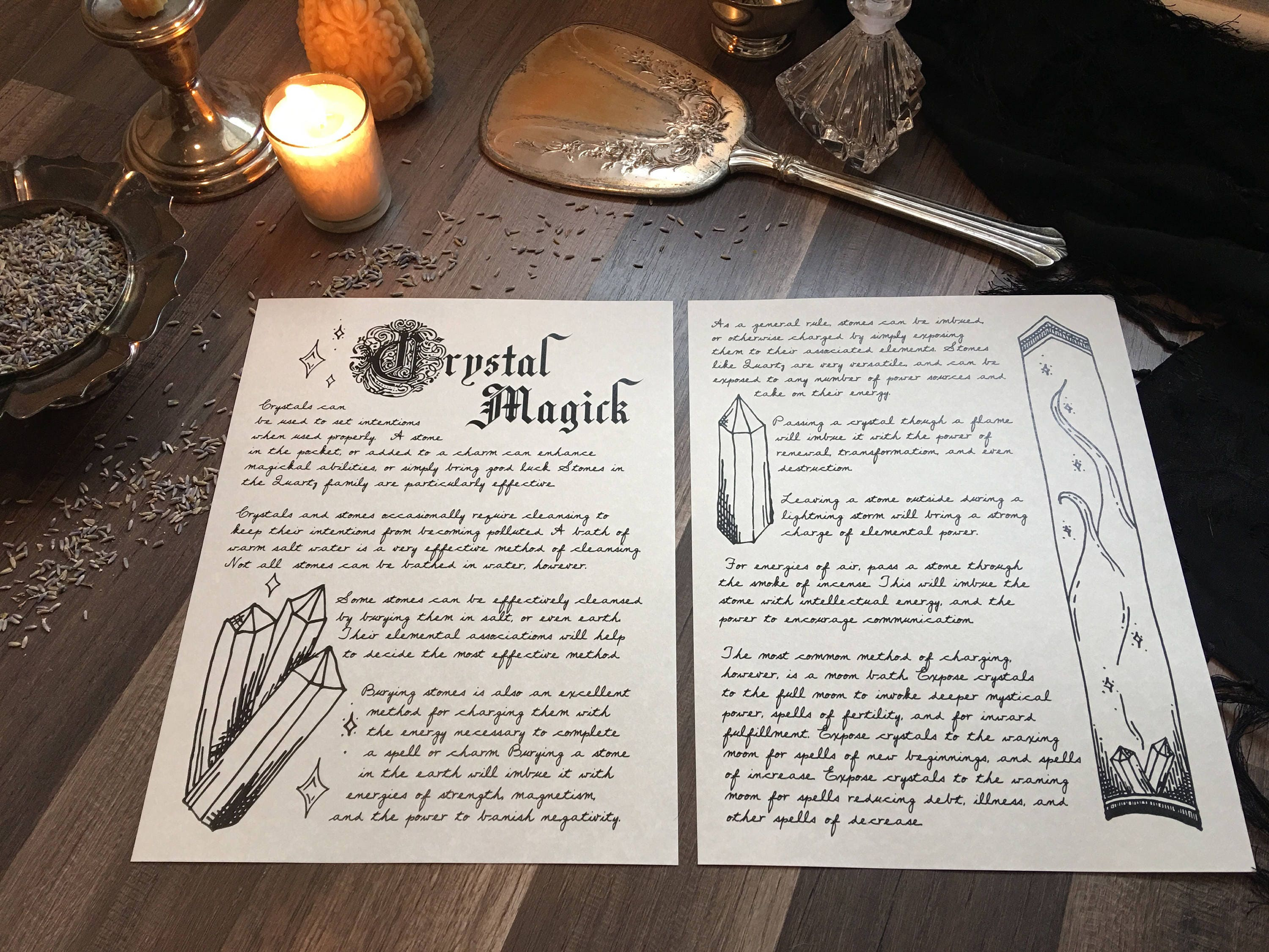 Instant Download Digital Print Crystal Safety Crystals: Grimoire  Book of Shadows Pages How to Cleanse and Charge Crystal Meanings