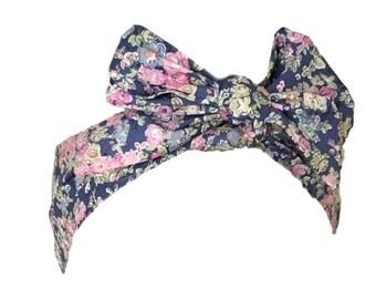 Liberty of London Print Tie-Up Headband Bow, Headscarf, Retro Tie-up Hair Band Bow