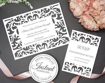 Wedding Invitation Template Cricut Etsy